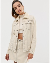 Missguided Co Ord Denim Jacket With Borg Collar And Contrast Stitch In Ecru