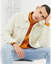 ASOS DESIGN Fleece Western Jacket In Ecru