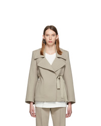 MM6 MAISON MARGIELA Beige Techno Wool Wrap Blazer