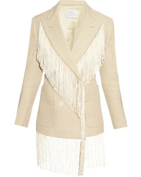 Hillier bartley fringed double breasted linen blazer medium 3645334