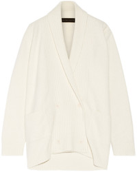 The Elder Statesman Double Breasted Cashmere Blend Cardigan Ivory