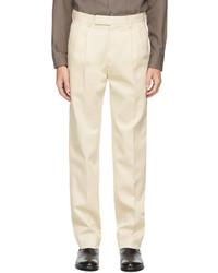 Ermenegildo Zegna Beige Cotton Twill Trousers