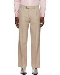 Ernest W. Baker Beige Wool Pleated Straight Leg Trousers