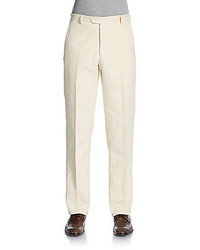 Hickey Freeman Flat Front Wool Blend Trousers