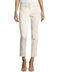 Halston Heritage Skinny Ponte Trim Pants Cream