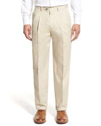 Nordstrom Men's Shop Nordstrom Classic Smartcare Pleated Supima Cotton Dress Pants