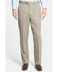 Berle Self Sizer Waist Wool Gabardine Trousers
