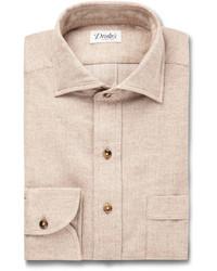 Drakes Drakes Sand Woven Cotton Shirt