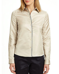 Jil sander piped silk blouse medium 155943