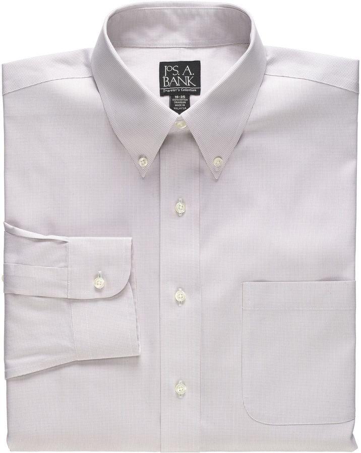 Jos a bank traveler tailored fit button down collar for Tailoring a dress shirt