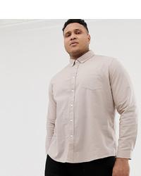 ASOS DESIGN Plus Slim Oxford Shirt With Collar In Light Brown