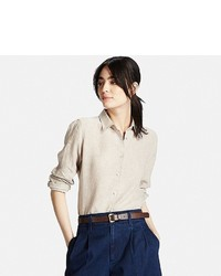 Uniqlo Premium Linen Long Sleeve Button Front Shirt