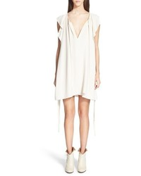 Chloé Chloe Side Tie Flutter Detail Cady Dress