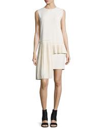 Maison Margiela Sleeveless Side Pleat Dress Ivory