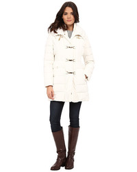 Long clip toggle down coat with bib and knit collar medium 368019