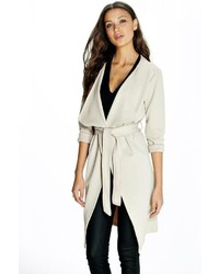 Boohoo Tall Effie Textured Woven Trench Coat