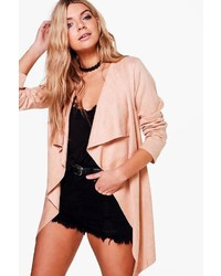 Boohoo Erica Waterfall Suedette Jacket
