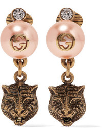 Gucci Gold Tone Faux Pearl And Swarovski Crystal Clip Earrings Blush