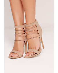 Missguided strappy elastic barely there heeled sandals nude medium 813283