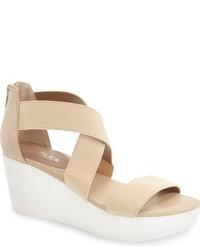 Beige Elastic Wedge Sandals