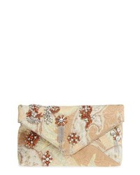 Dries Van Noten Crystal Embellished Brocade Envelope Clutch