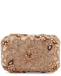 Alice + Olivia Hard Shell Embellished Satin Clutch Bag Rose Golden