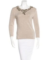 Cashmere blend embellished sweater w tags medium 6457981