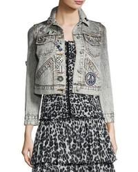 Marc Jacobs Shrunken Embellished Denim Jacket Ecru