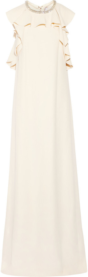 Lanvin Embellished Ruffled Crepe Gown Ecru   Where to buy & how to wear