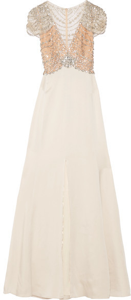 Jenny Packham Embellished Tulle And Satin Crepe Gown Ecru   Where to ...