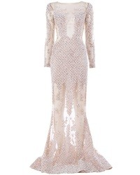 Murad Zuhair Embellished Sheer Gown