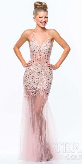 reputable site 7943b a570c $429, Terani Couture Tulle Nude Illusion Prom Gown