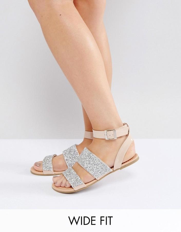 Asos Feet Embellished Fit Flat Wide Fancy Sandals26Asos 35Lj4RAq