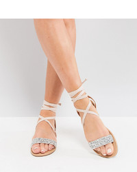 ASOS DESIGN Wide Fit Fi Embellished Flat Sandals