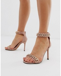 River Island Barely There Heeled Sandals With Chain Detail In Pink