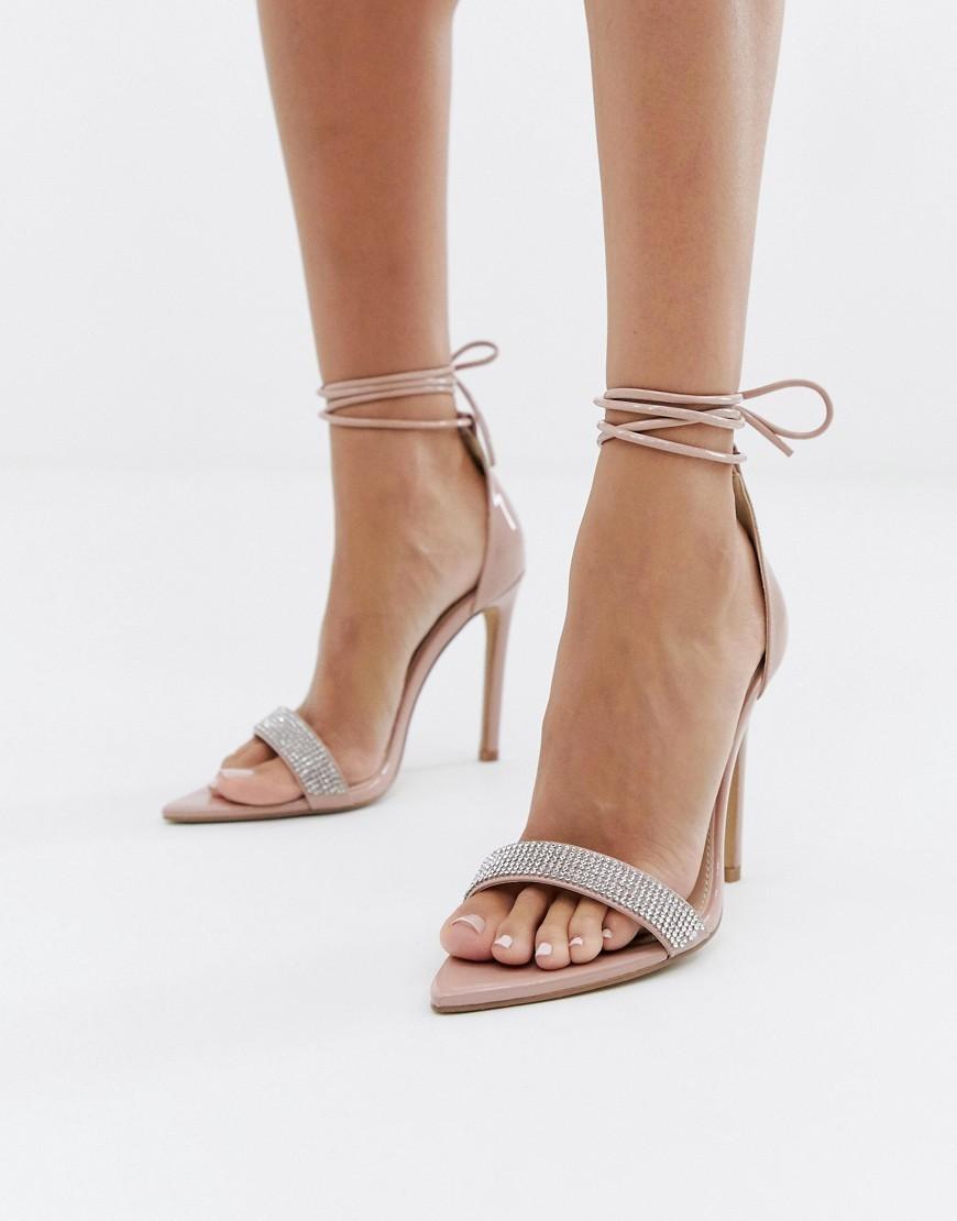 Public Desire Caffeine Blush Embellished Ankle Tie Heeled Sandals