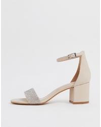 Aldo Gladoniel Embellished Block Heeled Leather Sandal In Beige