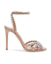 Aquazzura Tequila 105 Crystal Embellished Leather Sandals