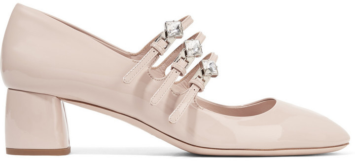 43a7639e01140b ... Miu Miu Crystal Embellished Patent Leather Mary Jane Pumps Beige ...