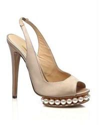Satin pearl platform slingback pumps medium 122917
