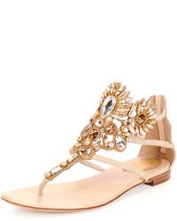 Beige Embellished Leather Thong Sandals