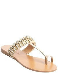 Badgley Mischka Beige Leather Jewel And Studded Kaitlyn Thong Sandals