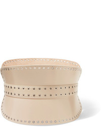Alexander McQueen Eyelet Embellished Leather Waist Belt Cream