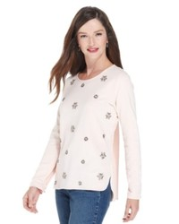 Beige Embellished Long Sleeve T-shirt