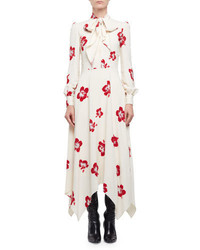 Saint Laurent Embellished Hibiscus Print Midi Dress Shellredsilver