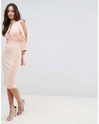 Asos Scuba Trim Blouson Split Sleeve Midi Dress