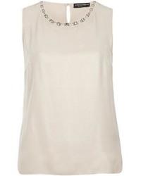 Dorothy perkins nude foiled embellished top medium 351289