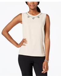 Embellished trim sleeveless top medium 351283