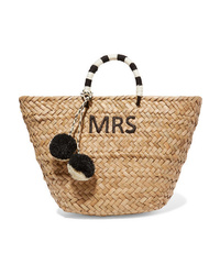 Kayu St Tropez Pompom Embellished Embroidered Woven Straw Tote