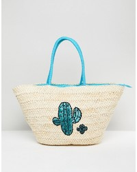 South Beach Straw Beach Bag With Cactus Print